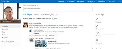 """Screenshot eines SharePoint-Newsfeeds mit der Option """"Freigabe für alle Personen"""""""