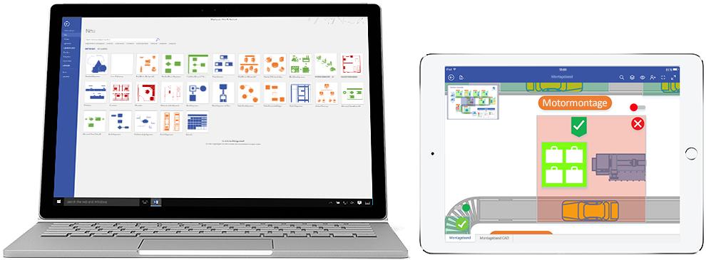 Ein Laptop und ein iPad mit Diagrammen in Visio Online Plan 2