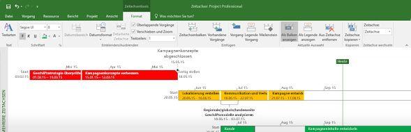 Screenshot einer in Project Professional geöffneten Projektdatei
