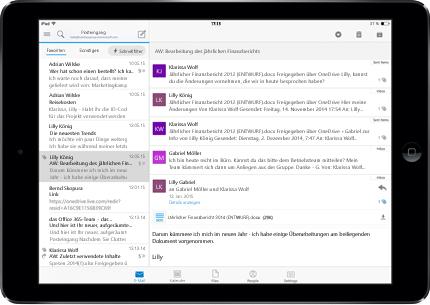 Ein Tablet, auf dem ein werbefreier Posteinang in Office 365 angezeigt wird