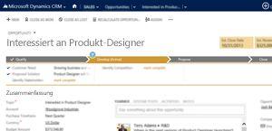 Ein Bild einer Verkaufschancenseite in Microsoft Dynamics CRM Online.