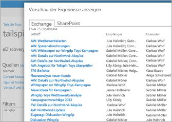 Nahaufnahme einer Liste der Vorschauergebnisse der Exchange Online-Archivierung.