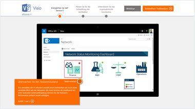 Computerbildschirm mit Visio-TestDrive, geführte Tour durch Visio Online Plan 2