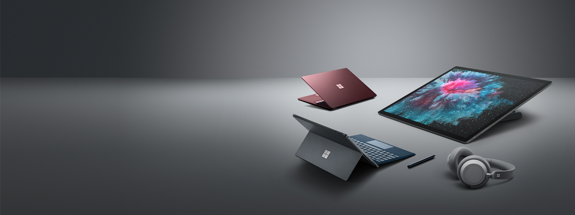 Surface Laptop 2, Surface Pro 6, Surface Studio 2, Surface Headphones und Surface Pen