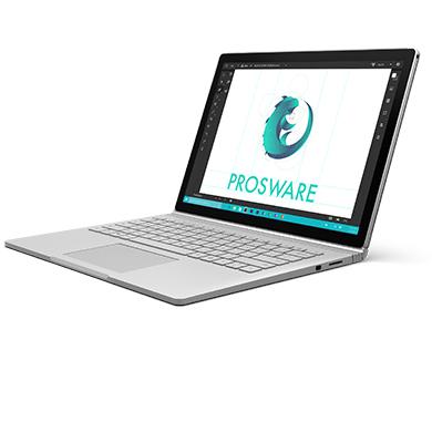 Surface Book im seitlichen Winkel, mit einer Unternehmenspräsentation auf dem Bildschirm.