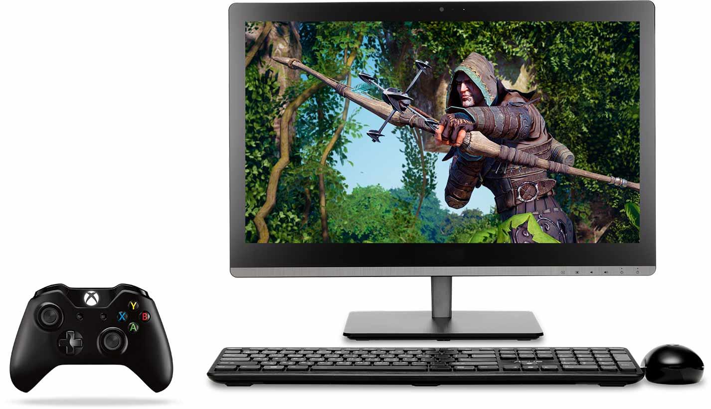 Xbox Controller und All-in-One mit Xbox auf dem Bildschirm