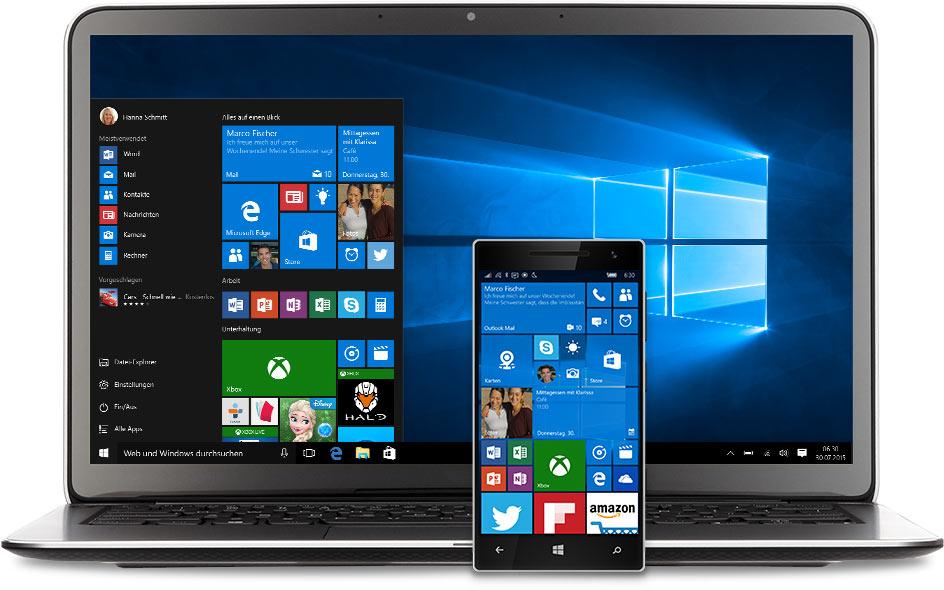 Laptop und Smartphone mit Windows10 Startmenü