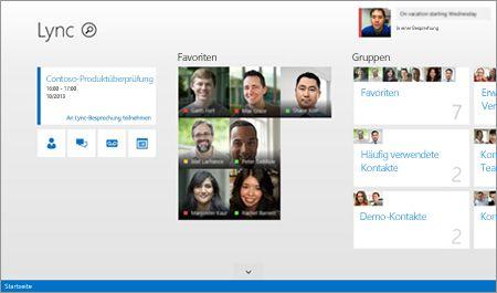 Screenshot eines Lync-Startbildschirms mit Miniaturansichten von Kontakten und Verbindungsoptionen.