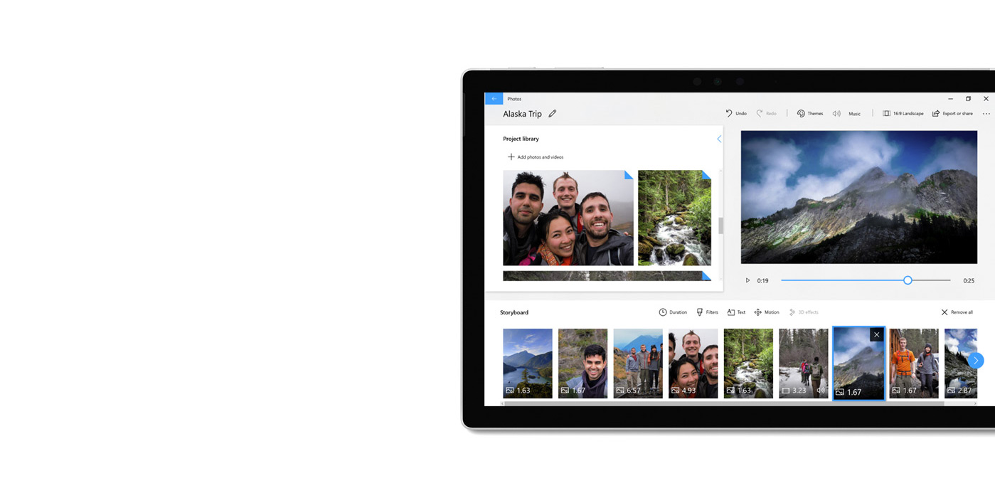 Tablet-Gerät, auf dem die Fotos-App und der Video-Editor angezeigt werden.