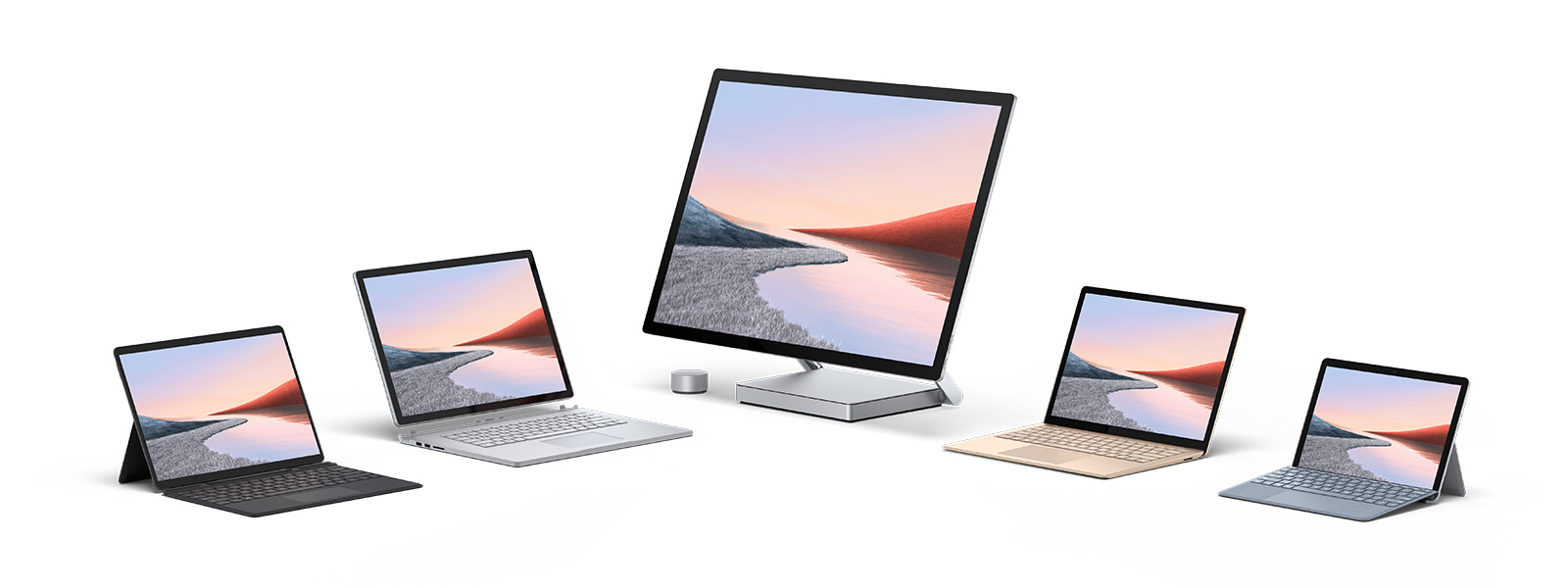 Mehrere Computer von Surface, darunter Surface Pro 7, Surface Pro X , Surface Book 3, Surface Studio 2 und Surface Go 2