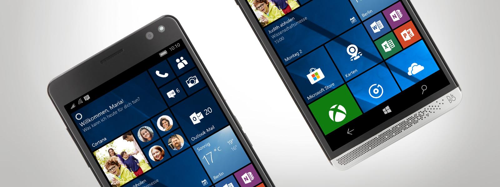 Partielle Nahaufnahme von zwei HP Elite x3-Smartphones, die beide nach links geneigt sind.