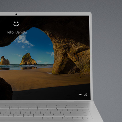 Ein Windows 10-Computer, der teilweise einen Hello-Sperrbildschirm anzeigt