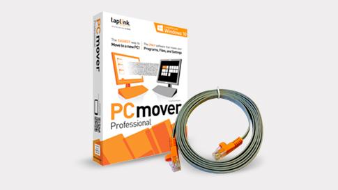 Bild der Verpackung der PCmover Professional-Software mit Ethernettransferkabel