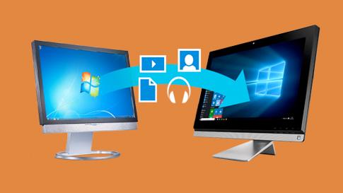 Vier Bilder, die Video-, Audio- und Dokumentdateien sowie Personen zeigen, die durch die Luft fliegen und von einem Desktop-PC mit Windows 7 zu einem Desktop-PC mit Windows 10 wechseln