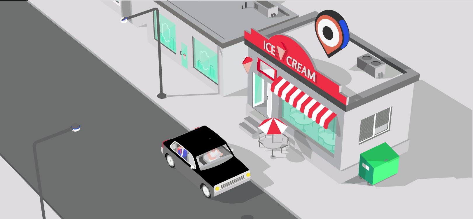 Auto fährt an einer Eisdiele vorbei