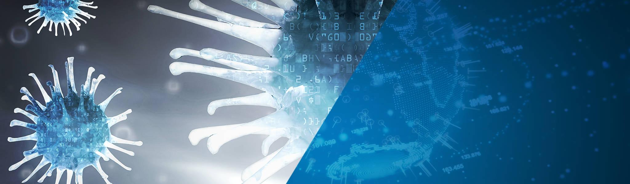 Vergrößerte Viren, die das Thema Schadsoftware illustrieren