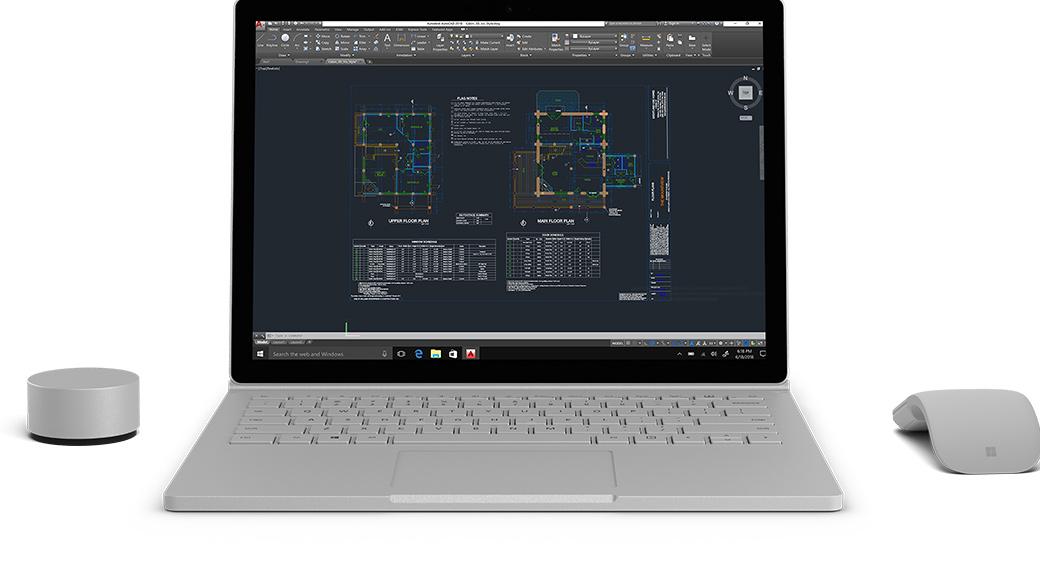 Autodesk-Bildschirm wird auf einem Surface Book2 mit Surface Dial und Arc Touch Mouse angezeigt.