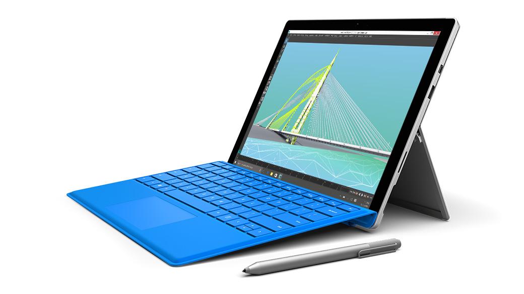 Surface Pro 4, auf dem Autodesk ausgeführt wird.