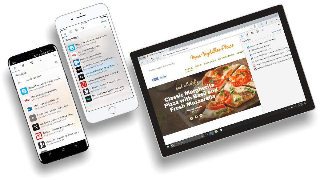 iPhone und Android-Smartphone mit Edge-Bildschirmen, auf denen die Funktion zur Datensynchronisierung gezeigt wird