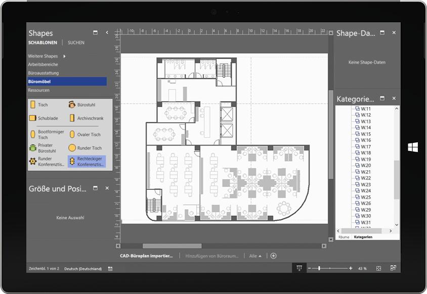 Ein Tabletbildschirm mit einer Animation eines Fertigungsprozesses in Visio