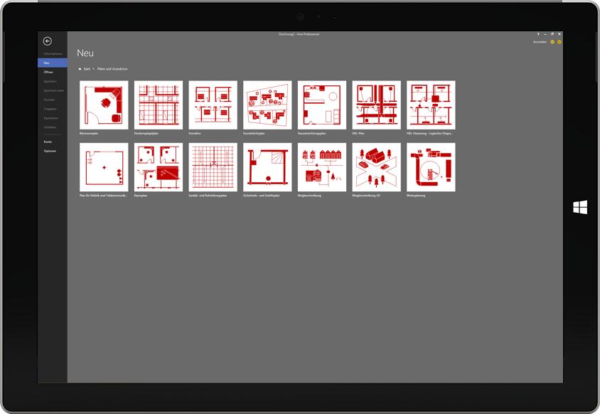 Ein Microsoft Surface-Tablet mit einer Liste der verfügbaren Grundrisse in Visio