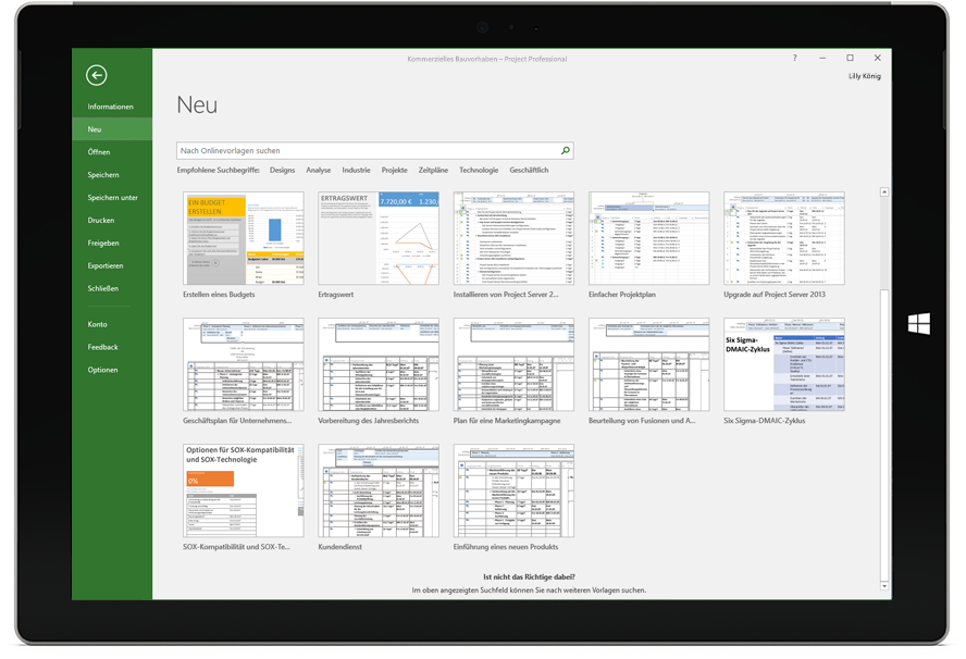 "Microsoft Surface-Tablet mit dem Fenster ""Neues Projekt"" in Project Professional"
