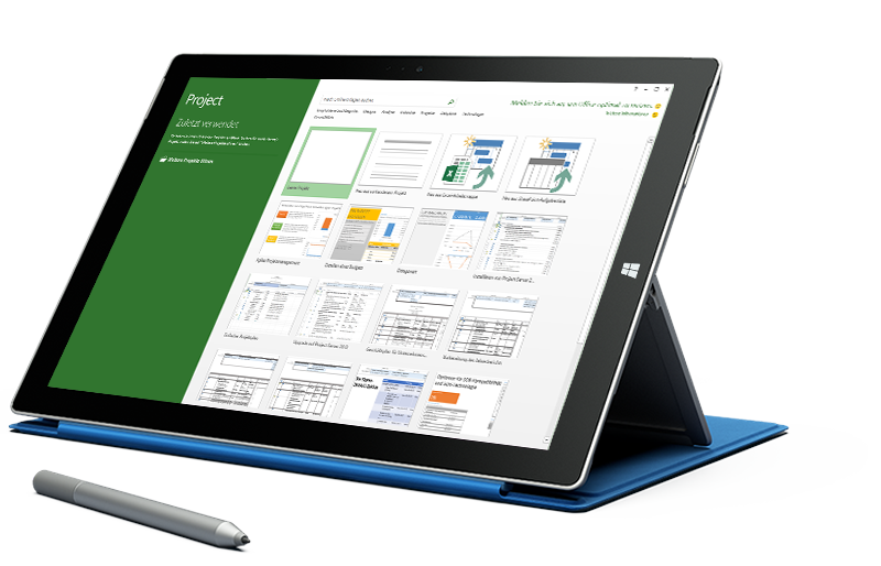 "Microsoft Surface-Tablet mit dem Bildschirm ""Neues Projekt"" in Microsoft Project."