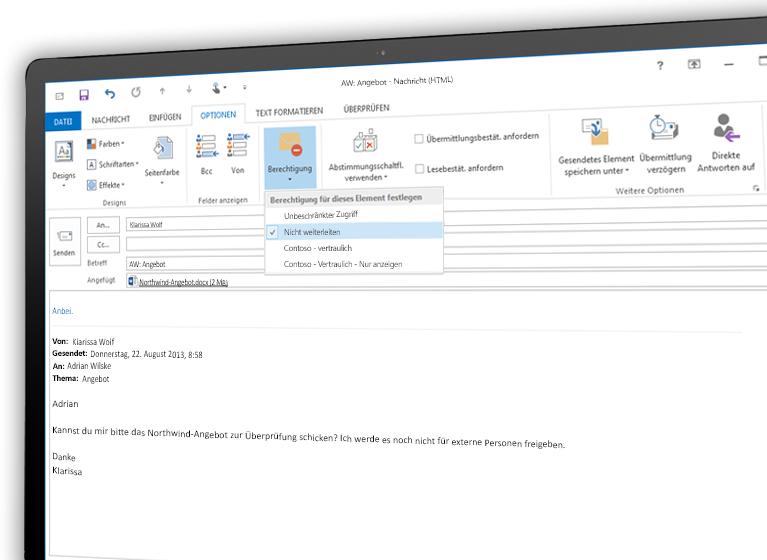 Bildschirm mit einer E-Mail, die mit Microsoft Azure Rights Management verschlüsselt wurde
