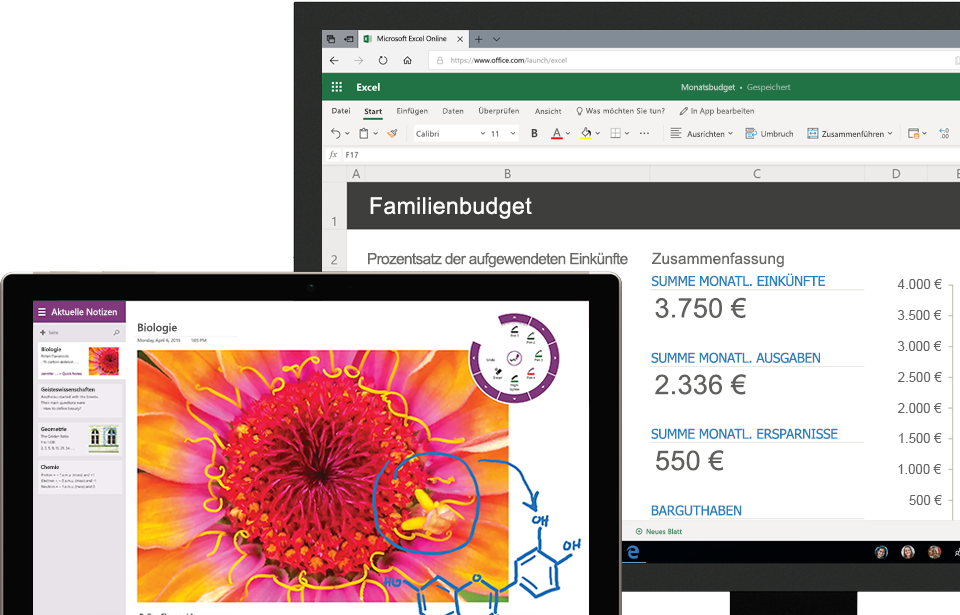 Zwei Tablets mit Partner-Apps in OneDrive for Business