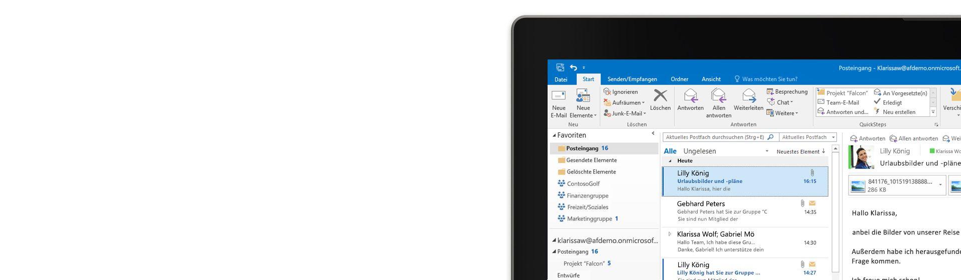 Ausschnitt eines Computerbildschirms mit einem E-Mail-Posteingang in Outlook