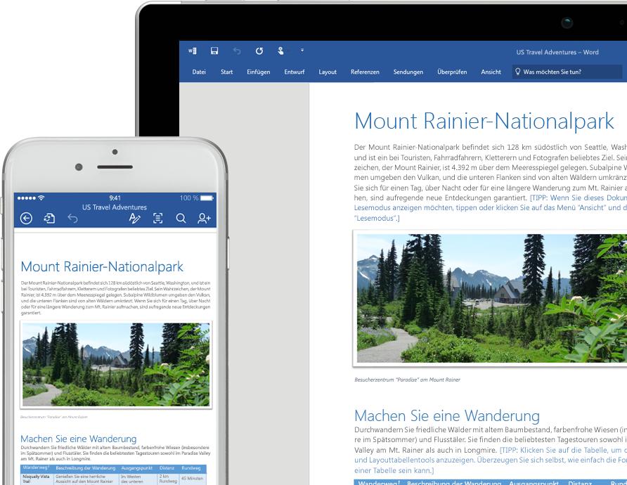 Ein Smartphone- und ein Laptopbildschirm mit einem Word-Dokument zum Mount Rainier National Park