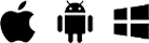 Apple-, Android- und Windows-Logos