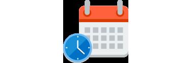 """Uhr und Kalender, die """"Immer auf dem neuesten Stand"""" symbolisieren"""