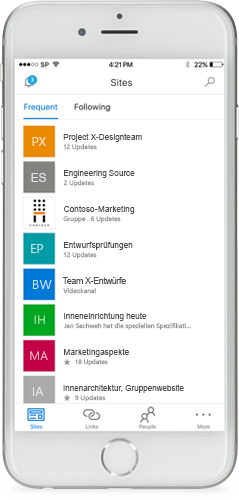 Ein Smartphone mit der mobilen SharePoint-App auf dem Display