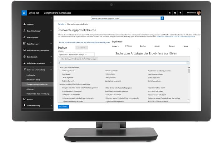 Ein Monitor mit der Überwachung und Berichterstellung in den Office 365 Compliance-Lösungen