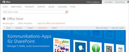 Screenshot einer SharePoint-Apps-Seite im Office Store