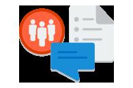 Ein Dokumentsymbol und ein Chatfenster