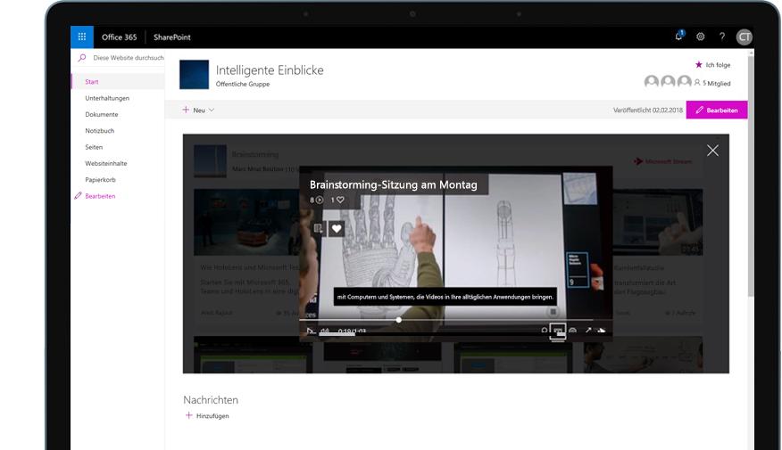 Ein Gerät, auf dem SharePoint in Office 365 und ein Schulungsvideo abgebildet sind