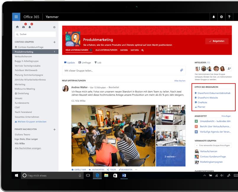 Yammer auf einem Laptop, auf dem die Integration von Office 365-Gruppen veranschaulicht wird