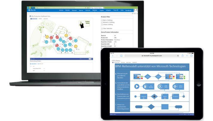 Ein Laptop und ein Tablet, auf denen jeweils unterschiedliche Visio-Diagramme angezeigt werden.