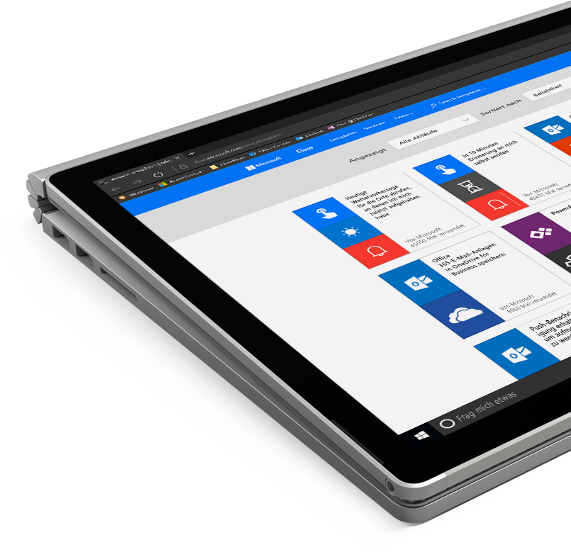 Ein Windows-Tablet mit Microsoft Flow