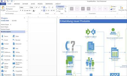Screenshot eines Visio-Diagramms mit Optionen zum Anpassen des Designs