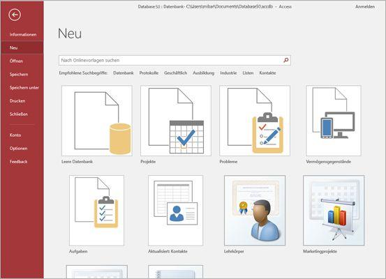 """Der Bildschirm """"Neue Datenbank"""" in Microsoft Access"""
