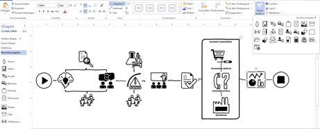 Nahaufnahme eines Visio-Diagramms mit Menüband und Werkzeugen zum Anpassen des Entwurfs.