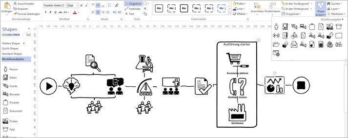 Nahaufnahme eines Visio-Diagramms mit Menüband und Werkzeugen zum Anpassen des Entwurfs