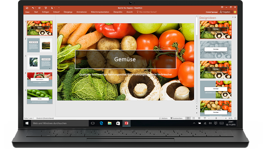 PowerPoint-Designer auf einem Laptop