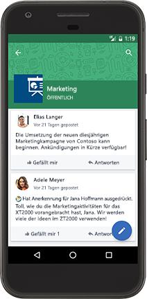 Ein Android-Smartphone mit einer Yammer-Unterhaltung