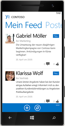 Ein Windows Phone mit dem Feed in Yammer