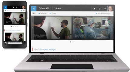 Ein Smartphone, auf dem ein Video wiedergegeben wird, und ein Tablet, auf dem ein Videokatalog in Office 365 Video angezeigt wird