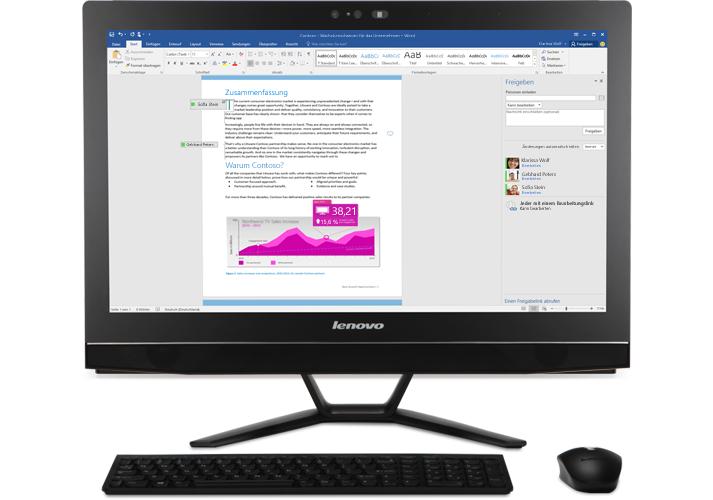 Ein Desktopcomputer mit einer Nahaufnahme der Funktion für die gemeinsame Dokumenterstellung in einem Word-Dokument, das in OneDrive for Business gespeichert ist